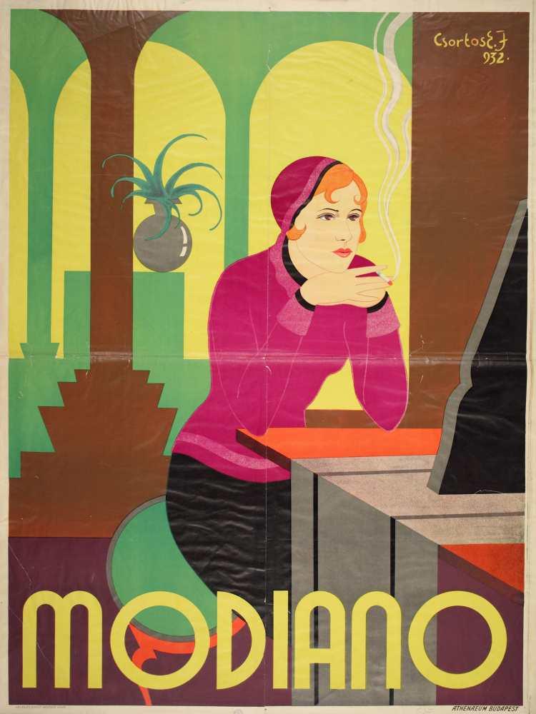 Modiano. Grafikus: Csortos Elek József. Jelzet: PKG.1932/17 – Plakát- és Kisnyomtatványtár