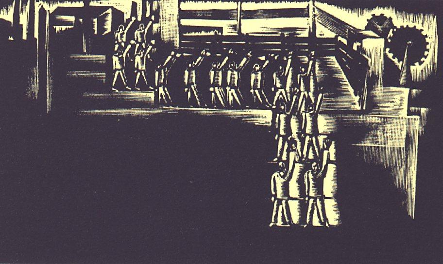 XII. szín: Falanszter udvara <br />Buday György illusztrációja Madách Imre Az ember tragédiája című drámájához.
