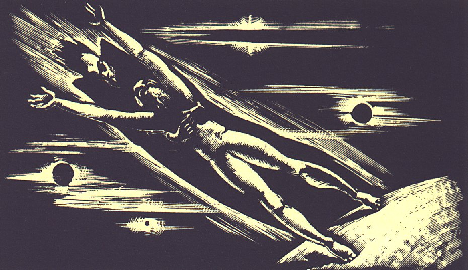 XIII. szín: Az űr <br />Buday György illusztrációja Madách Imre Az ember tragédiája című drámájához.