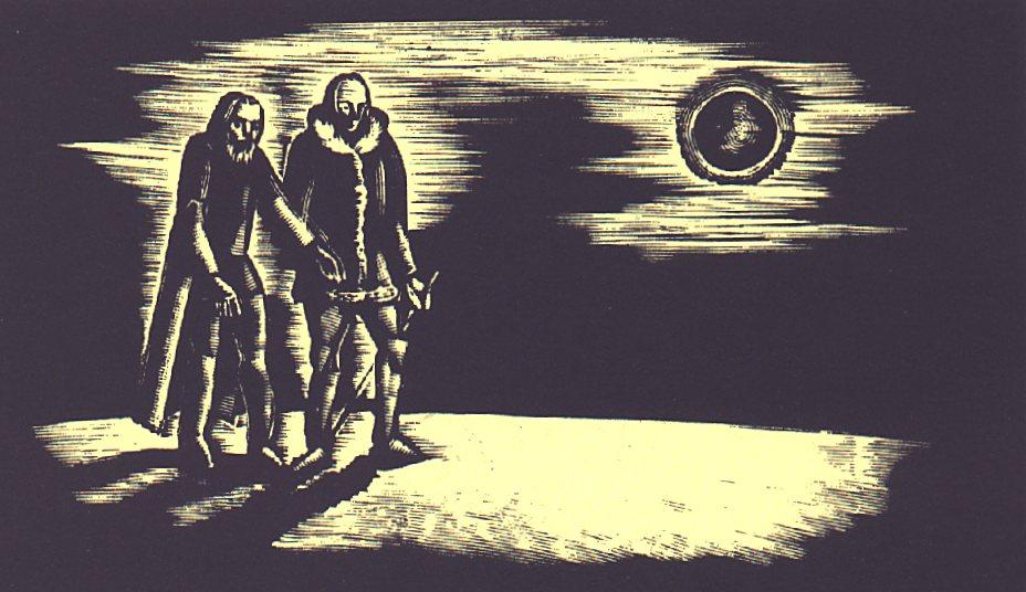 XIV. szín: 'Hóval és jéggel borított hegyes, fátlan vidék' <br />Buday György illusztrációja Madách Imre Az ember tragédiája című drámájához.