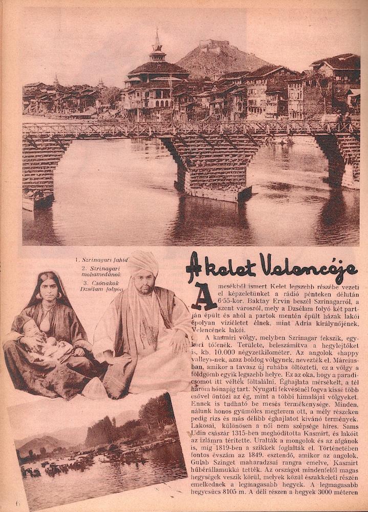 A kelet Velencéje. = Rádióélet. 1933. okt. 20. (43. sz.) p. 6-7.