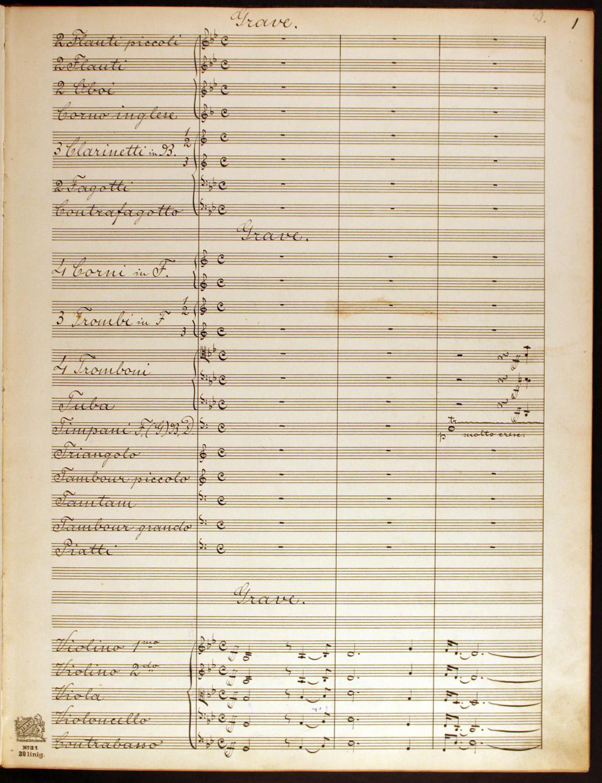 Dohnányi Ernő Zrínyi-nyitányának (1896) autográf tisztázata. Kottakézirat – Zeneműtár, Ms. Mus. 3.270.