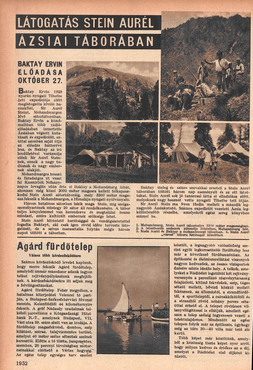 Látogatás Stein Aurél ázsiai táborában. = Rádióélet. 1931. okt. 23.<br />(43. sz.) p. 1952.