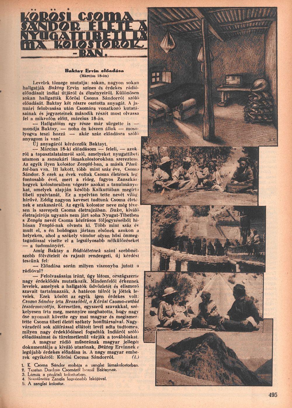 Kőrösi Csoma Sándor élete a nyugat-tibeti lámakolostorokban. =<br />Rádióélet. 1931. márc. 13. (11. sz.) p. 495.