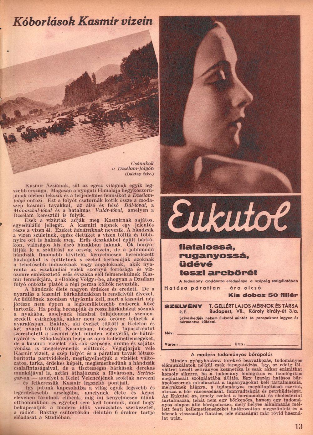 Kóborlások Kasmír vizein. = Rádióélet. 1933. aug. 25. (35. sz.) p. 13.