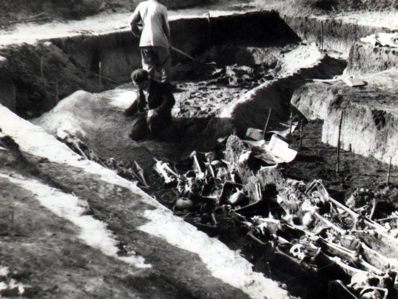 Fotó a mohácsi csatatér régészeti feltárásáról. Papp László hagyatékából.