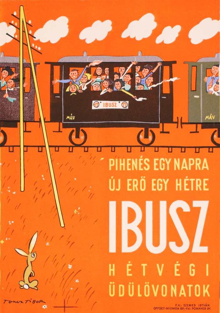 Pihenés egy napra új erő egy hétre… Grafikus: Toncz Tibor. Jelzet: PKG.1952/245 – Plakát- és Kisnyomtatványtár