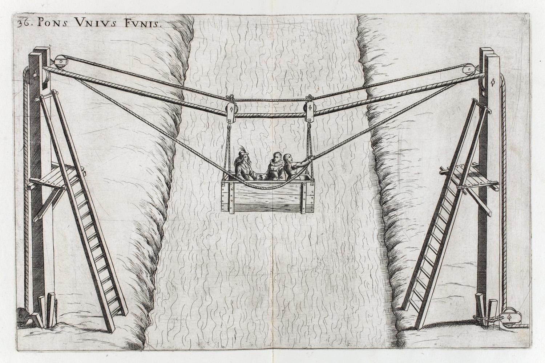 Verancsics Faustus: Machinae novae Fausti Verantii Siceni, [Venezia], [s. n.], 1616. Csigaszerkezetű kötélhíd; – Régi Nyomtatványok Tára. Jelzet: App. H. 679 (Apponyi-gyűjtemény)