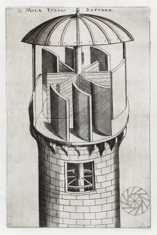 Verancsics Faustus: Machinae novae Fausti Verantii Siceni, [Venezia], [s. n.], 1616. A kerek tornyú malom – Régi Nyomtatványok Tára. Jelzet: App. H. 679 (Apponyi-gyűjtemény)