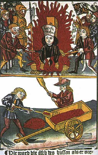 Husz János megégetése - miniatúra, 15. század