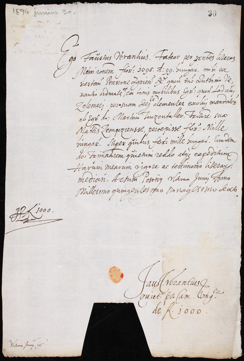 Verancsics Faustus 1596. június 30-án keltezésű autográfja. – Kézirattár. Jelzet: Fol.lat. 4006 II/30