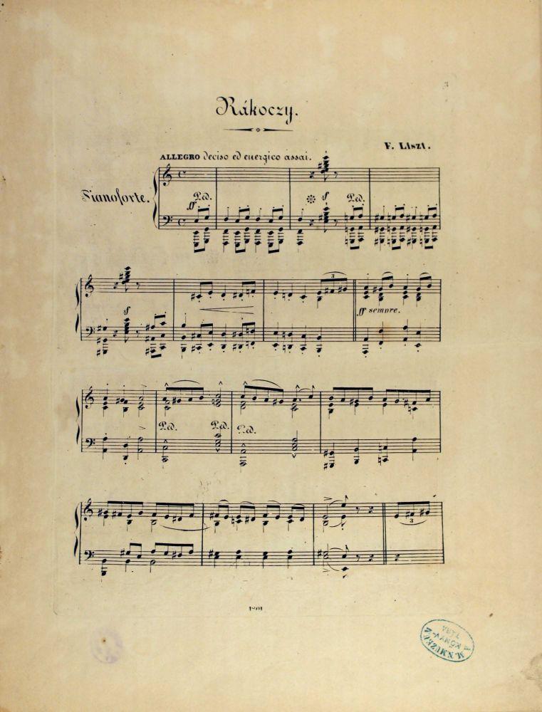 Liszt Ferenc: Marche de Rakoczy. Edition populaire pour Piano, Leipzig, Kistner, [1851]. – Zeneműtár (Mus. pr 2.433)