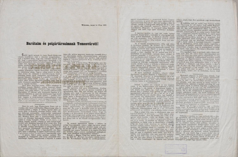 Klapka György programmja. Temesvár, Uhrmann és Blau-féle könyvny., 1869. – Plakát- és Kisnyomtatványtár, Kny.D 1.126