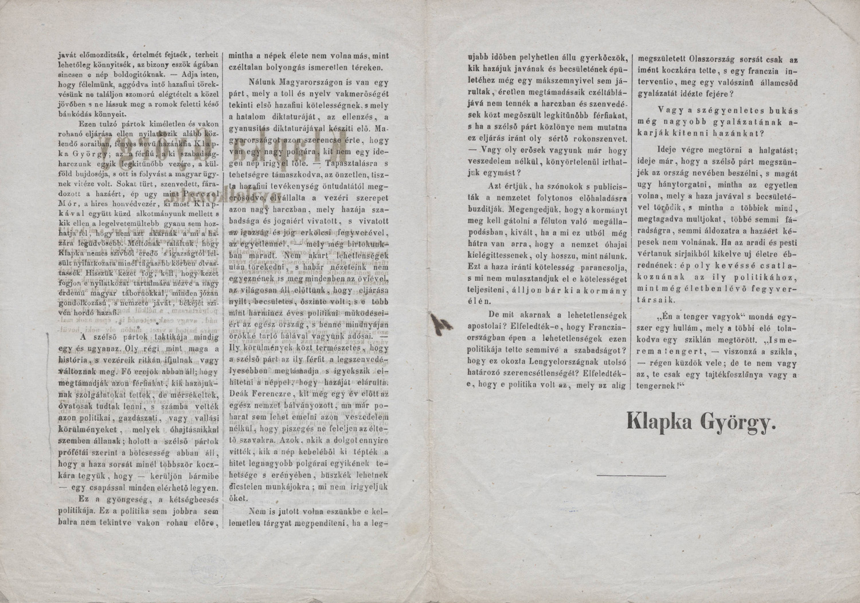 Klapka György nyilatkozata. [S.l.], [s.n.], [1869]. – Plakát- és Kisnyomtatványtár, Kny.D 3.992