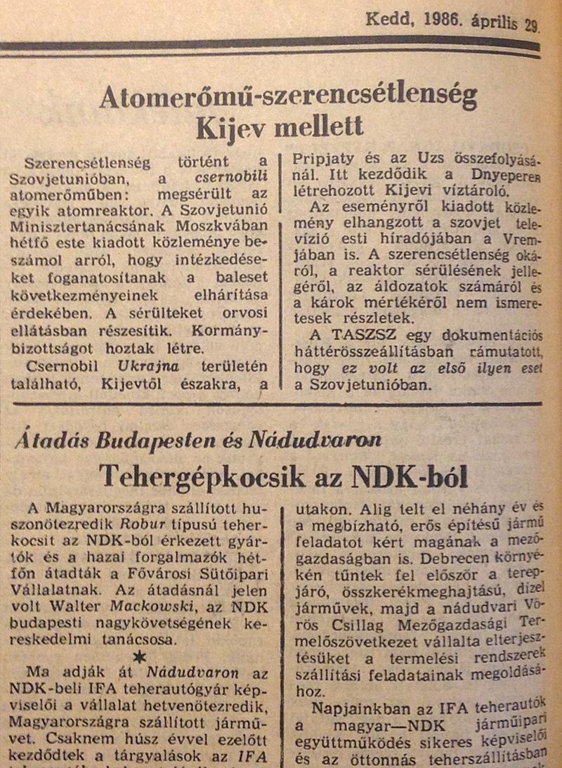 Magyar Nemzet 1986. áprilsi 29. 8. oldal. OSZK Törzsgyűjtemény