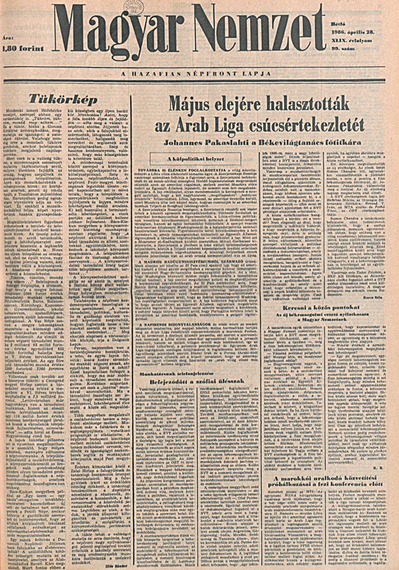 Magyar Nemzet 1986. április 28. OSZK Törzsgyűjtemény