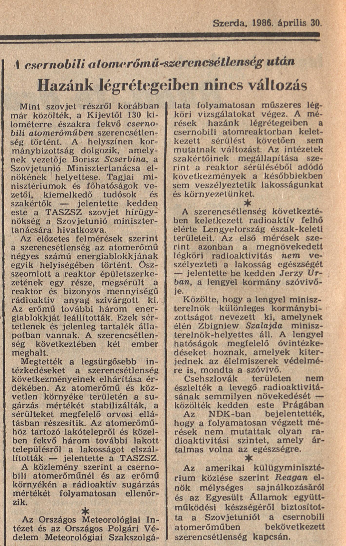 Magyar Nemzet 6. oldal. 1986. április 30. OSZK Törzsgyűjtemény