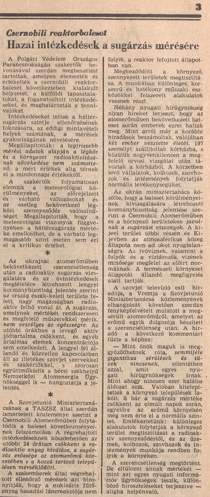 Magyar Nemzet 3. oldal. 1986. május 1. OSZK Törzsgyűjtemény