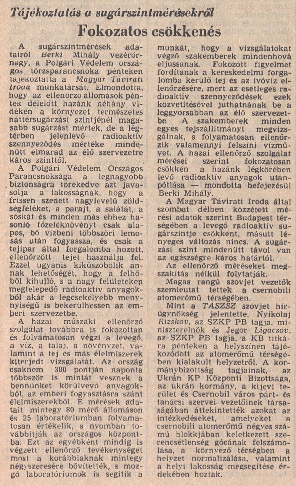 Magyar Nemzet 1986. május 4. 2. oldal. OSZK Törzsgyűjtemény