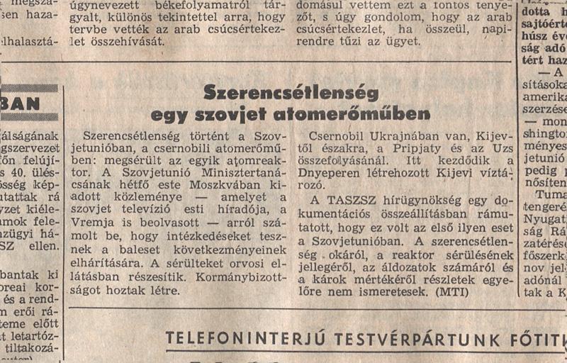 Népszabadság 1986. április 29. 2. oldal. OSZK Törzsgyűjtemény