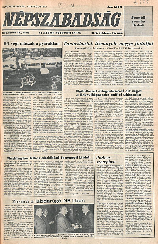 Népszabadság 1986. április 28. OSZK Törzsgyűjtemény