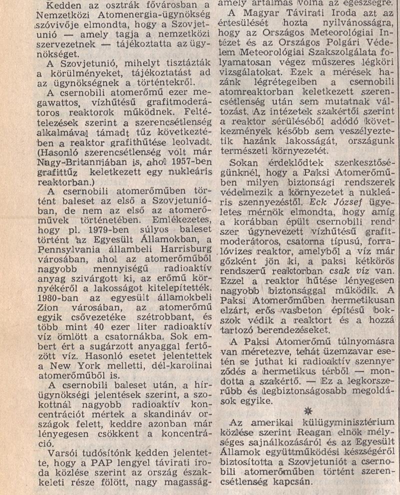 Népszabadság 4. oldal. 2/2 1986. április 30. OSZK Törzsgyűjtemény
