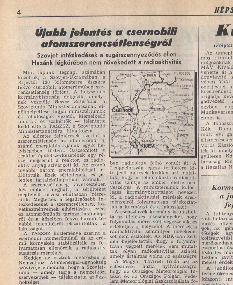 Népszabadság 4. oldal. 2/1 1986. április 30. OSZK Törzsgyűjtemény