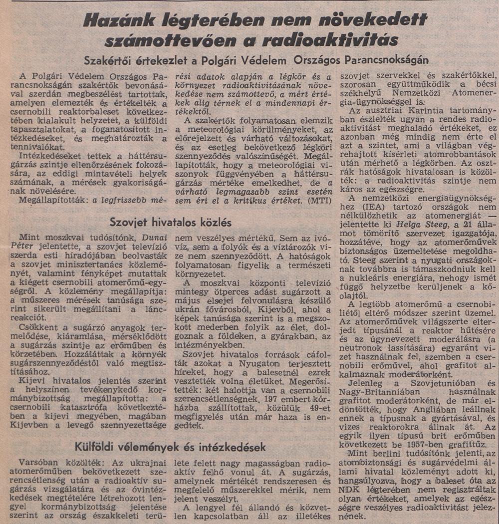 Népszabadság 4. oldal. 1986. május 1. OSZK Törzsgyűjtemény