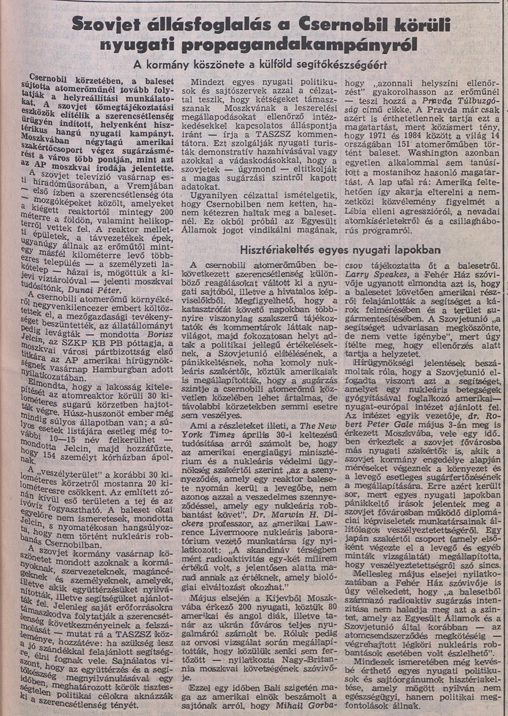 Népszabdság 1986. május 5. 3. oldal. OSZK Törzsgyűjtemény