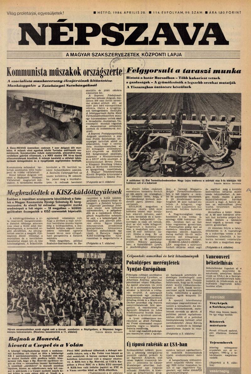 Népszava 1986. április 28. Hungaricana archívum