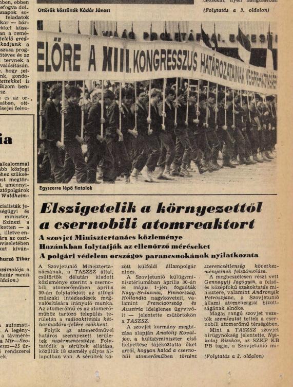 Népszava címlap 1986. május 4. Hungaricana Archívum