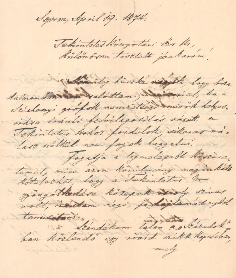 Paúr Iván levele Mátray Gábornak. 1874. április 19. – OSZK Irattár