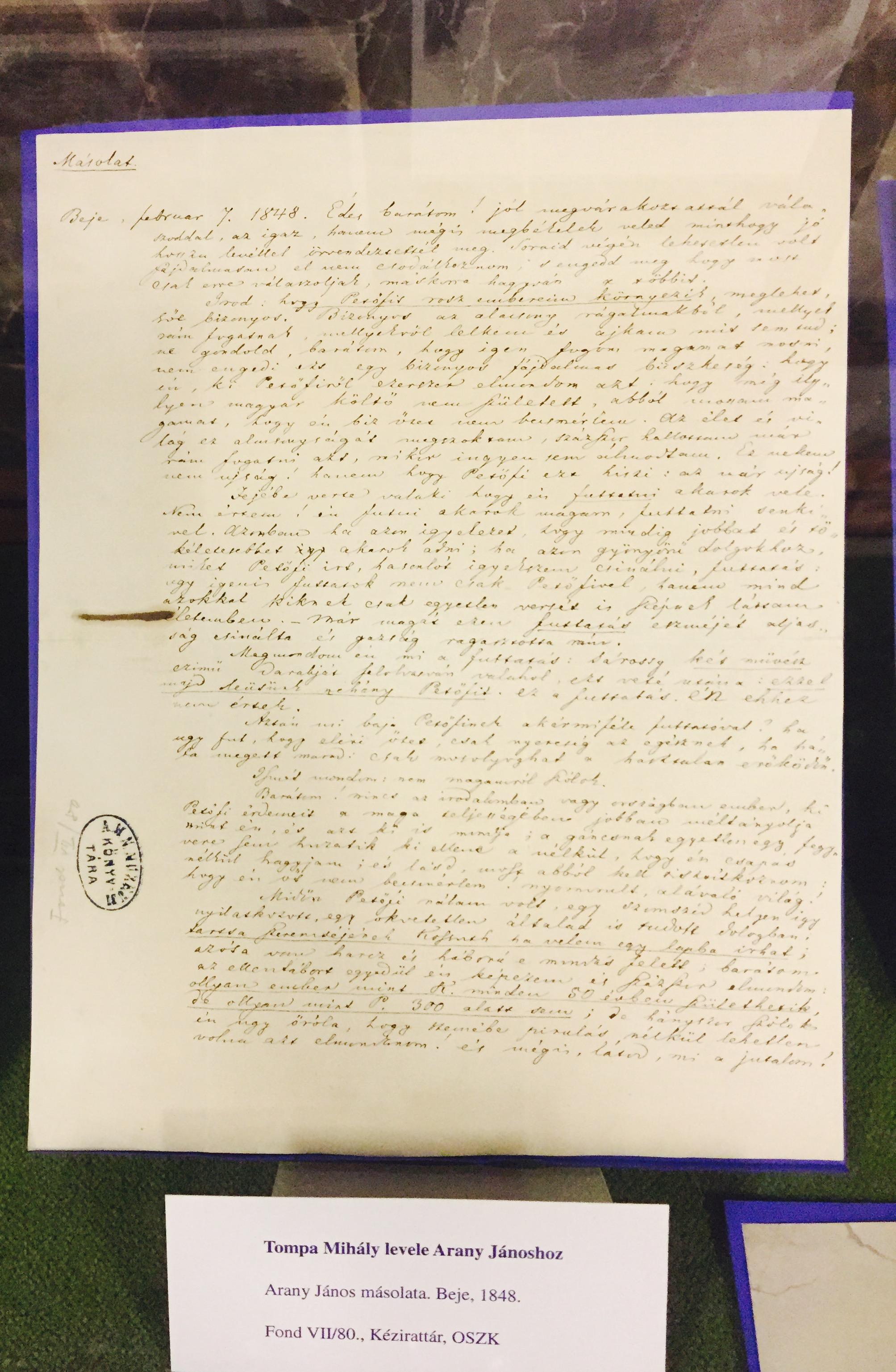 """A """"Nincs talán még elfeledve a dal"""" - kiállítás Tompa Mihály születésének 200. évfordulója alkalmából (2017) című kiállítás részlete"""