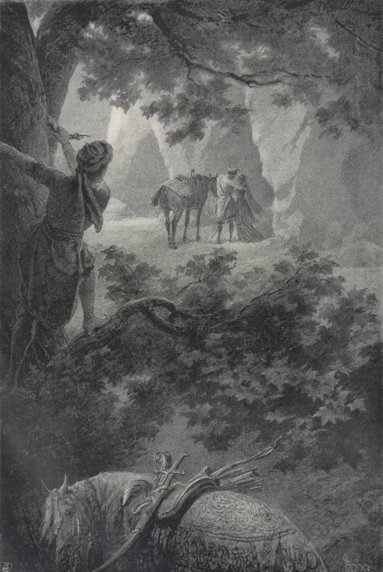 Nagy fennszóval siratoz, a köny szeméből mint gyöngysor hull, Lováról az ifju száll s őt üdvözölve, hozzáfordul / grafikus Zichy Mihály<br />Tariel, a párducbőrös lovag