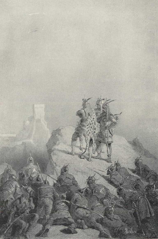 Megjöttek: ihol a vár, a védők rengetegen voltak / grafikus Zichy Mihály<br />Tariel, a párducbőrös lovag