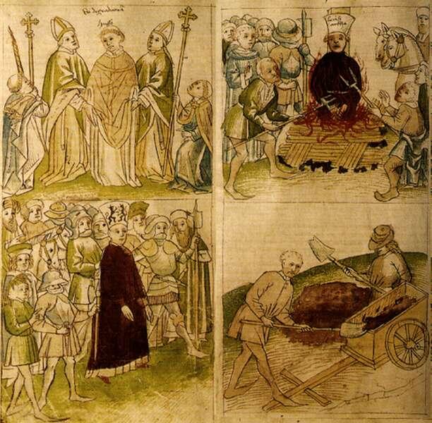 Husz János kivégzése <br />- miniatúra Ulrich von Richental krónikájából, 1465 körül