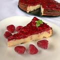 Raspberry baked protein cheesecake - Málnás sült fehérjés túrótorta