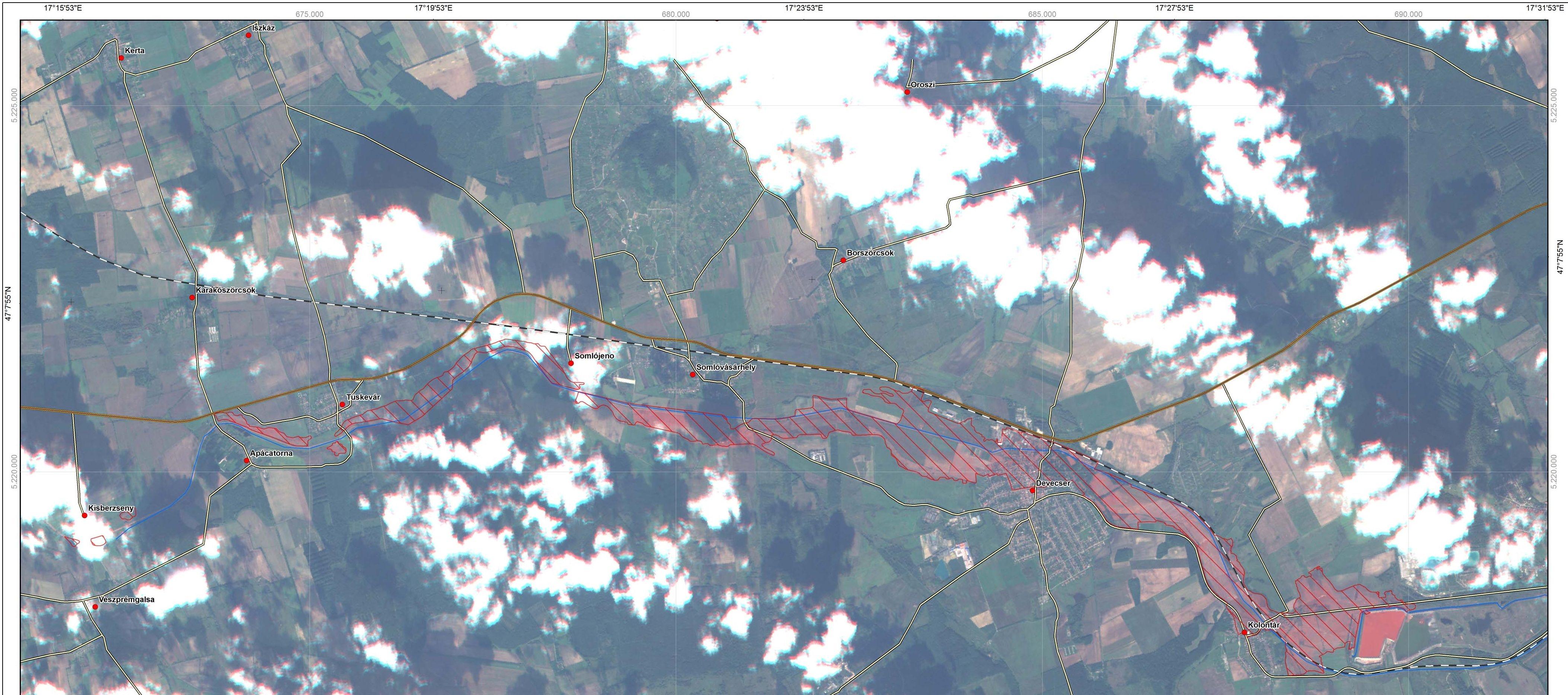 3. ábra Az elöntött terület (űrfelvétel, Űrvilág.hu)