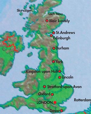Anglia utazási térkép