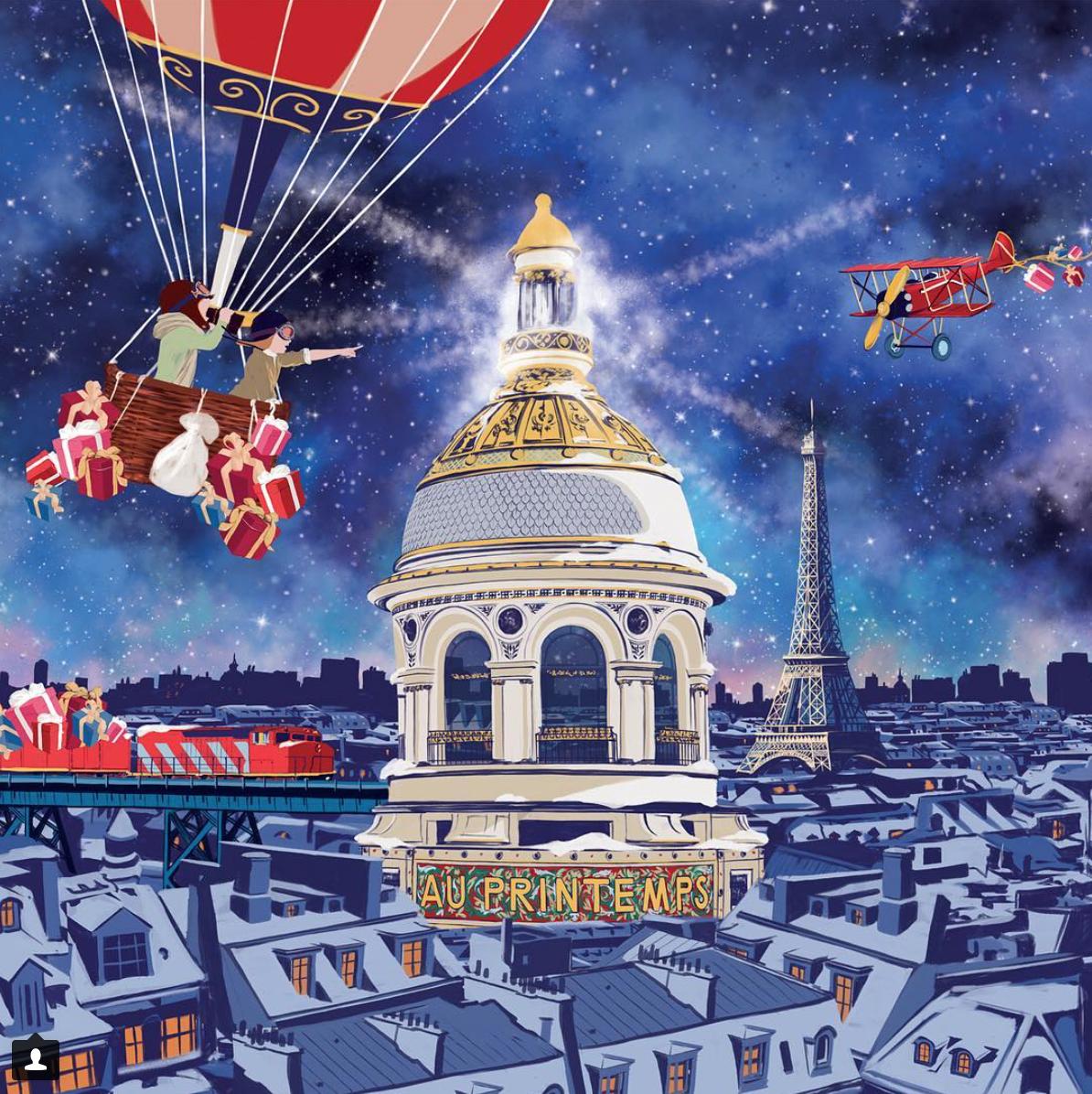 Párizs nagyáruházai karácsonyi pompában