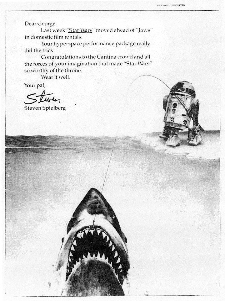 Spielberg a Hollywood Reporterben feladott hirdetéssel gratulált, amikor a Star Wars 1977-ben letaszította a Cápát a toplista éléről.