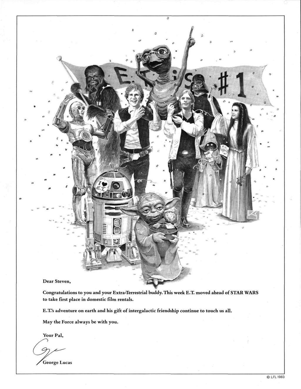 A Star Wars szereplői vállukra emelik E.T.-t. Lucas a Varietyben feladott hirdetésben gratulált Spielbergnek 1982-es filmje sikeréhez.