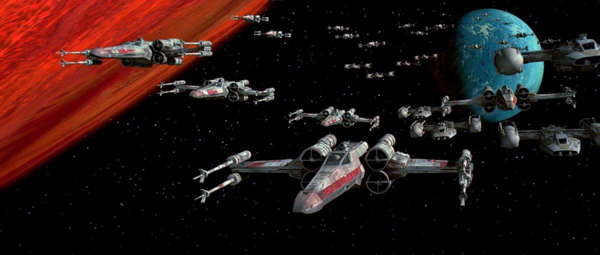Csatába indulnak az X-szárnyú vadászgépek - jelenet a Star Wars Trilógia 1997-es felújított változatából.