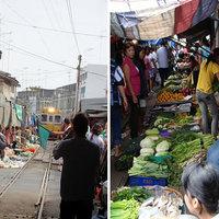 Maeklong vasúti piac