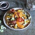 Színes zöldséges-narancsos quinoa
