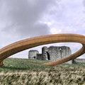 Hatalmas vasgyűrű egy walesi kastélynál
