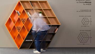 Rubik kocka inspirálta könyvespolc