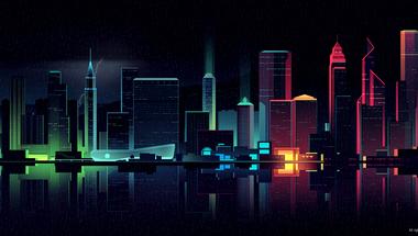 Neonfény és magány, digitális grafikák