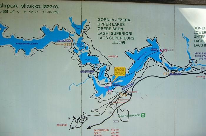 Plitvicei tavak térkép