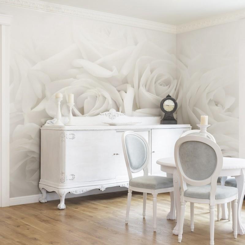 Fehér rózsa poszter tapéta szomszédos falra átvezetve
